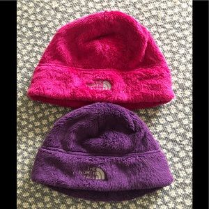Two (2) Fleece North Face hats